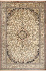 Kashmir 100% Silkki Matto 214X329 Itämainen Käsinsolmittu Vaaleanruskea/Tummanharmaa (Silkki, Intia)