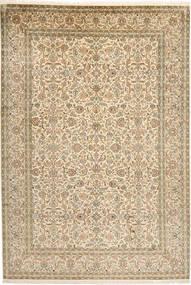 Kashmir 100% Silkki Matto 189X277 Itämainen Käsinsolmittu Beige/Tummanbeige (Silkki, Intia)
