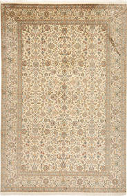 Kashmir Pure Silk Rug 188X284 Authentic  Oriental Handknotted Light Brown/Beige (Silk, India)
