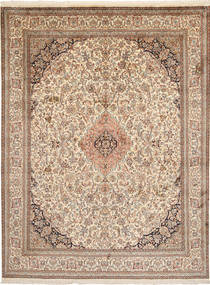Kashmir Pure Silk Rug 197X262 Authentic  Oriental Handknotted Light Brown/Beige (Silk, India)
