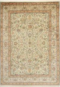Kashmir Pure Silk Rug 216X301 Authentic  Oriental Handknotted Dark Beige/Beige (Silk, India)