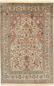 Kashmir Pure Silk Rug 122X186 Authentic  Oriental Handknotted Dark Grey/Beige (Silk, India)
