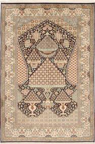 Kashmir 100% Silkki Matto 123X182 Itämainen Käsinsolmittu Vaaleanruskea/Vaaleanpunainen (Silkki, Intia)