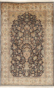Kashmir Pure Silk Rug 126X197 Authentic  Oriental Handknotted Light Brown/Brown (Silk, India)