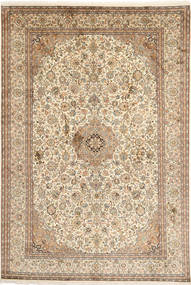 Kashmir Pure Silk Rug 192X283 Authentic  Oriental Handknotted Light Brown/Beige (Silk, India)