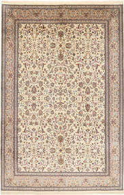 Kashmir Pure Silk Rug 187X281 Authentic  Oriental Handknotted Light Brown/Beige (Silk, India)