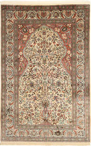 Kashmir Pure Silk Rug 122X192 Authentic  Oriental Handknotted Light Brown/Beige (Silk, India)