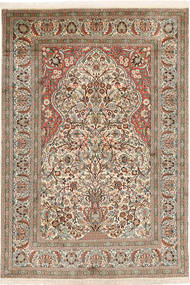 Kashmir Pure Silk Rug 123X179 Authentic  Oriental Handknotted Light Brown/Dark Grey (Silk, India)