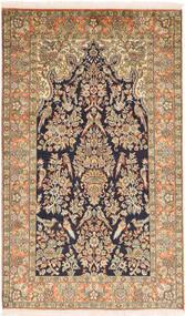 Kashmir Äkta Silke Matta 95X159 Äkta Orientalisk Handknuten Brun/Svart (Silke, Indien)