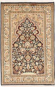 Kaszmir Czysty Jedwab Dywan 64X97 Orientalny Tkany Ręcznie Beżowy/Ciemnobrązowy (Jedwab, Indie)