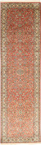 Kashmir Pure Silke Tæppe 80X302 Ægte Orientalsk Håndknyttet Tæppeløber Brun/Lysebrun (Silke, Indien)
