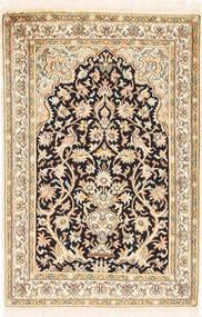 Kashmir Pure Silk Rug 65X96 Authentic  Oriental Handknotted Beige/Light Brown (Silk, India)