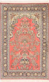 Kashmir Ren Silke Teppe 78X121 Ekte Orientalsk Håndknyttet Lysbrun/Lyserosa (Silke, India)
