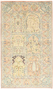 Kashmir Ren Silke Teppe 94X157 Ekte Orientalsk Håndknyttet Beige/Lysbrun (Silke, India)