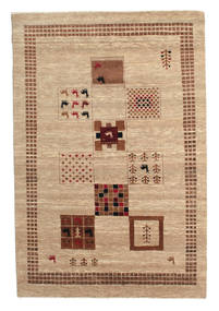 Gabbeh Loribaft Matto 150X222 Moderni Käsinsolmittu Vaaleanruskea/Tummanbeige (Villa, Intia)