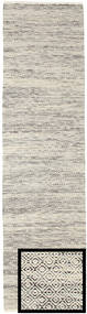 Hugo - Black/Grey Rug 80X300 Authentic  Modern Handwoven Hallway Runner  Light Grey/Beige ( India)