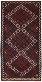 Kelim Matto 163X324 Itämainen Käsinkudottu Musta/Tummanpunainen (Villa, Persia/Iran)