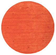 Loribaf Loom Rug Ø 202 Authentic  Modern Handknotted Round Orange (Wool, India)