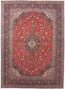 Keshan Patina Matta 293X412 Äkta Orientalisk Handknuten Roströd/Ljusgrå Stor (Ull, Persien/Iran)