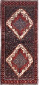Senneh Matto 140X321 Itämainen Käsinsolmittu Käytävämatto Tummanpunainen/Tummanharmaa (Villa, Persia/Iran)