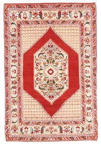 Hamadan Matto 134X202 Itämainen Käsinsolmittu Vaaleanpunainen/Tummanpunainen (Villa, Persia/Iran)