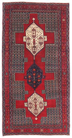 Senneh Patina Rug 145X299 Authentic  Oriental Handknotted Dark Red/Dark Purple (Wool, Persia/Iran)