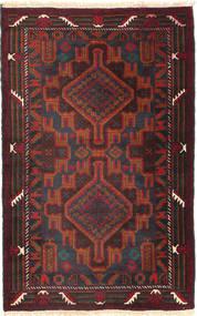 Beluch Vloerkleed 87X137 Echt Oosters Handgeknoopt Zwart/Donkerrood (Wol, Afghanistan)