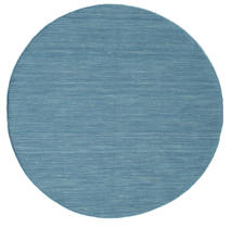 Kilim Loom - Blue Rug Ø 150 Authentic  Modern Handwoven Round Turquoise Blue/Blue/Light Blue (Wool, India)
