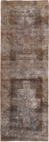 Colored Vintage Rug 91X375 Authentic  Modern Handknotted Hallway Runner  Light Grey/Brown/Dark Brown (Wool, Persia/Iran)