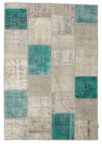Patchwork Rug 160X232 Authentic  Modern Handknotted Light Grey/Dark Turquoise   (Wool, Turkey)