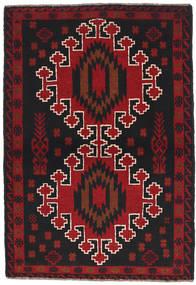 Beluch Matto 88X134 Itämainen Käsinsolmittu Musta/Tummanpunainen (Villa, Afganistan)