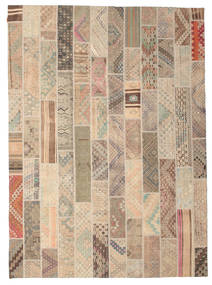 Kilim Patchwork Rug 256X353 Authentic  Modern Handwoven Light Brown/Light Pink Large (Wool, Turkey)