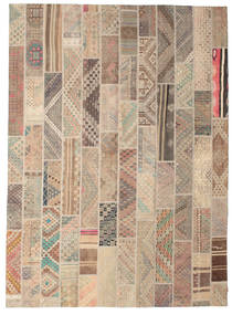 Kilim Patchwork Rug 256X353 Authentic  Modern Handwoven Light Brown Large (Wool, Turkey)