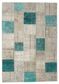 Patchwork Rug 237X340 Authentic  Modern Handknotted Light Grey/Dark Turquoise   (Wool, Turkey)
