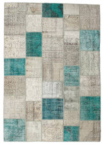 Patchwork Rug 240X341 Authentic  Modern Handknotted Light Grey/Turquoise Blue (Wool, Turkey)