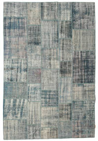 Patchwork Rug 206X305 Authentic  Modern Handknotted Dark Grey/Light Grey/Blue (Wool, Turkey)
