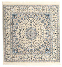 Nain Emilia - Cream/Licht Blauw Vloerkleed 150X150 Oosters Vierkant Beige/Lichtgrijs ( Turkije)