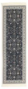 Nain Florentine - Dark Blue Rug 80X200 Oriental Hallway Runner  Black/Light Grey ( Turkey)
