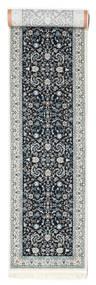 Nain Florentine - Donkerblauw Vloerkleed 80X500 Oosters Tapijtloper Lichtgrijs/Donkerblauw ( Turkije)