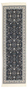 Nain Florentine - Dark Blue Rug 80X250 Oriental Hallway Runner  Dark Grey/Black ( Turkey)