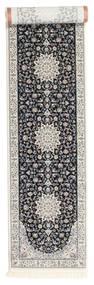 Nain Emilia - Mörkblå Matta 80X400 Orientalisk Hallmatta Ljusgrå/Svart ( Turkiet)