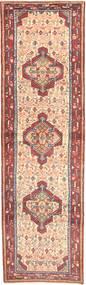 Hamadan Rug 82X288 Authentic  Oriental Handknotted Hallway Runner  Light Pink/Dark Brown (Wool, Persia/Iran)