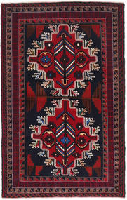バルーチ 絨毯 80X131 オリエンタル 手織り 深緑色の/深紅色の (ウール, アフガニスタン)