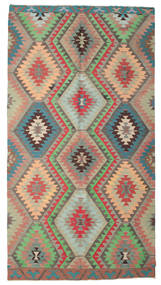 Chilim Semi-Antic Turcia Covor 174X326 Orientale Lucrate De Mână Gri Închis/Roșu-Închis (Lână, Turcia)