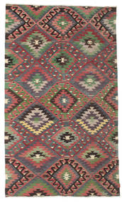 Kelim Semiantik Turkisk Matta 183X310 Äkta Orientalisk Handvävd Mörkbrun/Roströd (Ull, Turkiet)