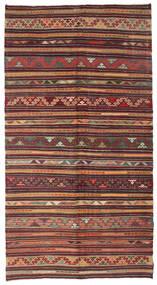 Kelim Semiantiikki Turkki Matto 176X328 Itämainen Käsinkudottu Tummanpunainen/Tummanruskea (Villa, Turkki)