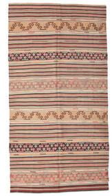 Kelim Semiantik Turkisk Matta 160X310 Äkta Orientalisk Handvävd Ljusbrun/Mörkbeige (Ull, Turkiet)