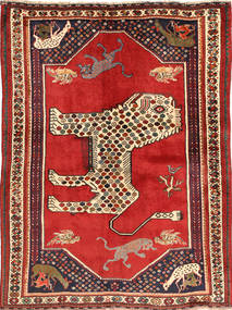 Qashqai Rug 141X195 Authentic  Oriental Handknotted Rust Red/Dark Blue (Wool, Persia/Iran)