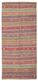 Kilim Semi Antique Turkish Rug 158X346 Authentic  Oriental Handwoven Rust Red/Dark Grey (Wool, Turkey)