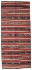 Kilim Semi Antique Turkish Rug 172X387 Authentic  Oriental Handwoven Hallway Runner  Brown/Dark Brown (Wool, Turkey)
